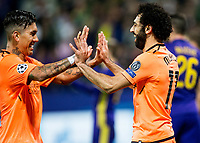 MARIBOR, SLOVENIA - OCTOBER 17: Roberto Firmino of Liverpool FC and  Mohamed Salah of Liverpool FC celebrate after scoring third goal during UEFA Champions League 2017/18 group E match between NK Maribor and Liverpool FC at Stadium Ljudski vrt, on October 17, 2017 in Maribor, Slovenia. (Photo by Vid Ponikvar / Sportida)