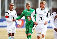 Fotball , 13. april 2013 , Adeccoligaen , 1. divisjon<br /> Stabæk - Kristiansund 0-0<br /> <br /> Mahmoud El Haj  , Kr.sund<br /> keeper Roger Berntzen , Kr. sund og Andreas Aalbu , Kr.sund