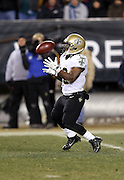 New Orleans Saints running back Darren Sproles (43) catches a kick during the NFL NFC Wild Card football game against the Philadelphia Eagles on Saturday, Jan. 4, 2014 in Philadelphia. The Saints won the game 26-24. ©Paul Anthony Spinelli