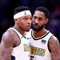 01 April 2018: Denver Nuggets guard Torrey Craig (3) is seen next to Denver Nuggets forward Will Barton (5) during the Denver Nuggets 128-125 victory over the Milwaukee Bucks, at the Pepsi Center, Denver, Colorado, USA.