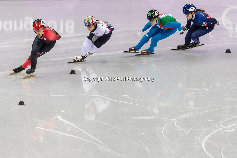 Arianna Fontana (ITA) #9, Valerie Maltais (CAN) #47, Jessica Kooreman (USA) #16 and Kathryn Thomson (GBR) #30 competing in the Short Track women's 1000m heat #4 at the Olympic Winter Games PyeongChang 2018