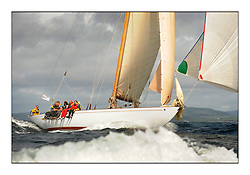 Day five of the Fife Regatta, Race from Portavadie on Loch Fyne to Largs. <br /> <br /> Solway Maid, Roger Sandiford, GBR, Bermudan Cutter, Wm Fife 3rd, 1940<br /> <br /> * The William Fife designed Yachts return to the birthplace of these historic yachts, the Scotland's pre-eminent yacht designer and builder for the 4th Fife Regatta on the Clyde 28th June–5th July 2013<br /> <br /> More information is available on the website: www.fiferegatta.com