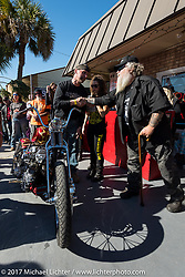 Awards at Willie's Tropical Tattoo's annual Choppertime Old School bike show during Daytona Bike Week. Daytona Beach, FL. USA. Thursday March 16, 2017. Photography ©2017 Michael Lichter.