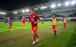 SWANSEA, WALES - Thursday, November 12, 2020: Wales' James Lawrence during the pre-match warm-up before an International Friendly match between Wales and the USA at the Liberty Stadium. (Pic by David Rawcliffe/Propaganda)