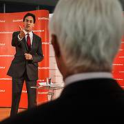 The day after the vote. Labour leader Ed Miliband acknowledges Alistair Darling 's contribution to the Better Together winning campaign at meeting of Labour party campaigners after their victory, at the Emirates Arena, Glasgow. Scottish Independence Referendum.19 09 14