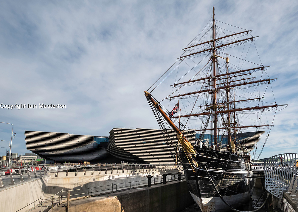 View of the new V&A Museum and RSS Discovery Ship at Discovery Point in Dundee, Tayside, Scotland, United Kingdom.
