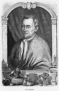 Jean Baptiste von Helmont (1579-1644). Belgian physician and chemist.   Helmont recognised that there are more gases than just air, and claimed to have coined the word 'gas'.  He believed that all mater was composed of water and air, and to prove this he grew a willow tree in earth, adding only water.  From 'Vies des Savants lllustres' by Louis Figuier. (Paris, 1870). Engraving.