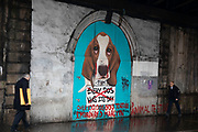 Anti animal testing street art graffiti at London Bridge on 27th November 2019 in London, England, United Kingdom. The mural suggests that each year 100 million animals are tortured and killed, tested upon for various industries.