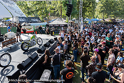 Event promoter Grant Peterson on the mic on stage at his Born Free Motorcycle Show (BF11) at Oak Canyon Ranch, Silverado  CA, USA. Saturday, June 22, 2019. Photography ©2019 Michael Lichter.