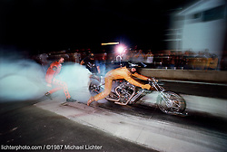 Flashback, All Harley Drags, Sturgis, SD, 1987<br /> <br /> Limited Edition Print from an edition of 50. Photo ©1987 Michael Lichter.