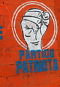 Symbol of the centre-right Patriotic Party or Patriot Party, Partido Patriota, painted on a wall.  Panajachel, Republic of Guatemala 03Mar14