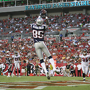 New England wide receiver Chad Ochocinco (85) catches a touchdown pass during an NFL football game between the New England Patriots and the Tampa Bay Buccaneers at Raymond James Stadium on Thursday, August 18, 2011 in Tampa, Florida.   (Photo/Alex Menendez)