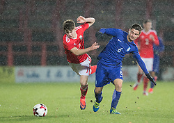 WREXHAM, WALES - Thursday, November 10, 2016: Wales' Benjamin Woodburn in action against Stathis Lamprou of Greece during the UEFA European Under-19 Championship Qualifying Round Group 6 match at the Racecourse Ground. (Pic by Gavin Trafford/Propaganda)