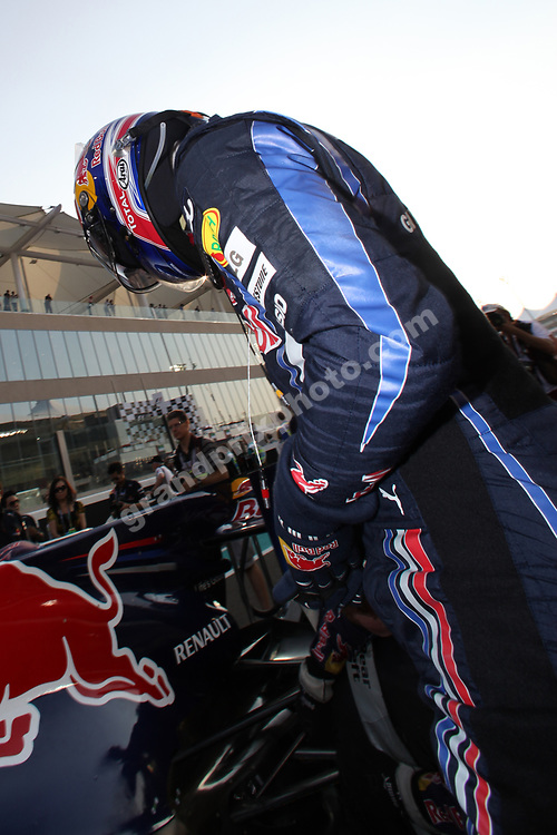 Mark Webber (Red Bull-Renault) on the starting grid before the 2010 Abu Dhabi Grand Prix at the Yas Marina Circuit. Photo: Grand Prix Photo