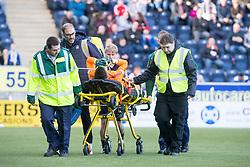 Falkirk's keeper David Mitchell taken of injured. Falkirk 2 v 0 Dunfermline, Scottish Challenge Cup played 7/9/2017 at The Falkirk Stadium.