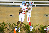 AC Flora Falcons WR Eriq Rice and AC Flora Falcons Chris Lofton (17) celebrate a Rice touchdown against the North Myrtle Beach Chiefs during the first half the state championship game at Benedict College.