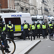 London March 20th 2021 around a thousand march for freedom in London with heavy police presents. Police start arresting people as soon as the march. 2021-03-20