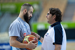 Andrea Trinchieri, head coach of Greece, talking with Vassilis Spanoulis of Greece at practice session of team Greece 1 day before the beginning of Eurobasket 2013 on September 3, 2013 in Arena Bonifika, Koper, Slovenia. (Photo by Matic Klansek Velej / Sportida.com)