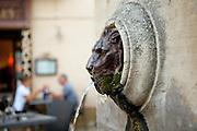 A lion's head fountain sculpute in Lourmarin, Provence, France
