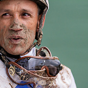 A jockey walks out of the track after racing in the final race of the Santa Anita Horse Racing competition on May 7, 2017. -- <br /> <br /> Photo by Megan Fenwick / Sports Shooter Academy