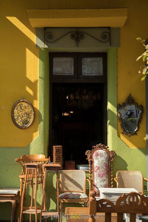 Old furniture in front of antique shop, Santiago, Chile