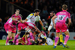 Exeter Chiefs Scrum-Half (#9) Haydn Thomas passes during the first half of the match - Photo mandatory by-line: Rogan Thomson/JMP - Tel: Mobile: 07966 386802 20/10/2012 - SPORT - RUGBY - Sandy Park Stadium - Exeter. Exeter Chiefs v ASM Clermont Auvergne - Heineken Cup Round 2