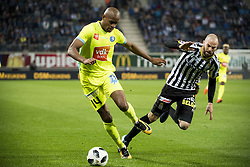 May 4, 2018 - Gent, BELGIUM - Gent's Rangelo Janga and Charleroi's Dorian Dessoleil fight for the ball during the Jupiler Pro League match between KAA Gent and Sporting Charleroi, in Gent, Friday 04 May 2018, on day seven (out of 10) of the Play-Off 1 of the Belgian soccer championship. BELGA PHOTO JASPER JACOBS (Credit Image: © Jasper Jacobs/Belga via ZUMA Press)