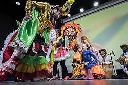 "26 April 2018, Bogotá, Colombia: The Global Christian Forum gathers in Bogotá on 24-27 April 2018 under the theme of ""Let mutual love continue"". Colombia cultural evening, with Colombian music and dance. Young girl Maya joins the dancers on stage (parental consent obtained)."