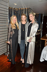 Left to right, ASTRID HARBORD, SOFIA BLUNT and OLIVIA BUCKINGHAM at a dinner to celebrate the start of The Season held at Rivea, Bulgari Hotel, 171 Kightsbridge, London on 18th May 2016.