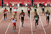 Mcc0055084 . Daily Telegraph<br /> <br /> Andrew Robertson takes England to the front in Heat 3 of the 4x100m Relay on Day 9 of the 2014 Commonwealth Games .<br /> <br /> <br /> Glasgow 1 August 2014