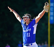 Freeburg pitcher Lizzy Ludwig raises her arms in victory after the last out and Freeburg defeated Nashville in the Class 2A sectional softball title game at Nashville High School in Nashville, IL on Thursday June 10, 2021. Tim Vizer/Special to STLhighschoolsports.com.