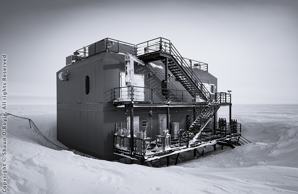 NOAA's Atmospheric Research Observatory (ARO) a 15 minute walk from the South Pole Station. The building is on the edge of the Clean Air Sector, where prevailing winds come from over 90% of the time. This sector extends 150 kilometers from the far side of the Observatory and is a no-go zone from which the ARO samples the cleanest air on earth.