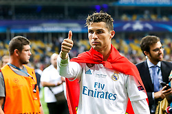 Cristiano Ronaldo of Real Madrid gives a thumbs up after wining his fifth Champions League - Mandatory by-line: Robbie Stephenson/JMP - 26/05/2018 - FOOTBALL - Olympic Stadium - Kiev,  - Real Madrid v Liverpool - UEFA Champions League Final
