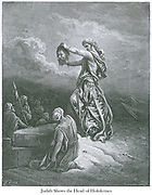 Judith Shows the Head of Holofernes [Judith 13:14] From the book 'Bible Gallery' Illustrated by Gustave Dore with Memoir of Dore and Descriptive Letter-press by Talbot W. Chambers D.D. Published by Cassell & Company Limited in London and simultaneously by Mame in Tours, France in 1866 . The Book of Judith is a deuterocanonical book, included in the Septuagint and the Catholic and Eastern Orthodox Christian Old Testament of the Bible, but excluded from the Hebrew canon