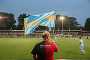 A Szekely Land supporter waves a flag despite a 4 - 2 defeat against Karpatalya during the Conifa Paddy Power World Football Cup semi finals on the 7th June 2018 at Carshalton Athletic Football Club in the United Kingdom. The CONIFA World Football Cup is an international football tournament organised by CONIFA, an umbrella association for states, minorities, stateless peoples and regions unaffiliated with FIFA.