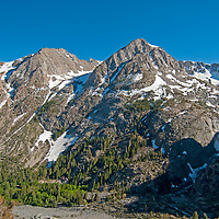 Mountains tower above Lee Vining Canyon, near Yosemite National Park in California's eastern Sierra Nevada.