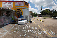 A memorial to Alton Sterling in front of  the Triple S Food Mart in Baton Rouge.