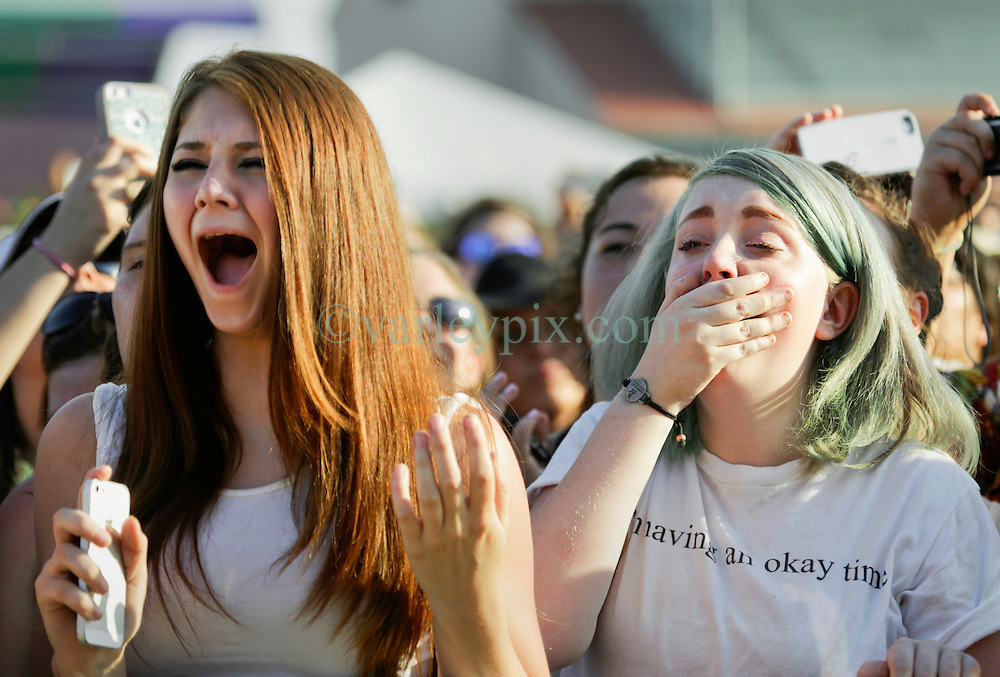 02 May 2015. New Orleans, Louisiana.<br /> The New Orleans Jazz and Heritage Festival. <br /> Ed Sheeran wows hysterical fans at the Gentilly stage.<br /> Photo; Charlie Varley/varleypix.com