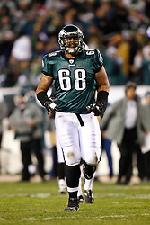 Philadelphia Eagles offensive tackle Austin Howard #68 during the NFL Game between the Indianapolis Colts and the Philadelphia Eagles. The Eagles won 26-24 at Lincoln Financial Field in Philadelphia, Pennsylvania on Sunday November 7th 2010. (Photo By Brian Garfinkel)