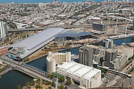 Aerial views of Melbourne's Exhibition center with Yarra River and South Melbourne behind.<br /> <br /> Larger JPEG + TIFF images available by contacting use through our contact page at :..www.photography4business.com