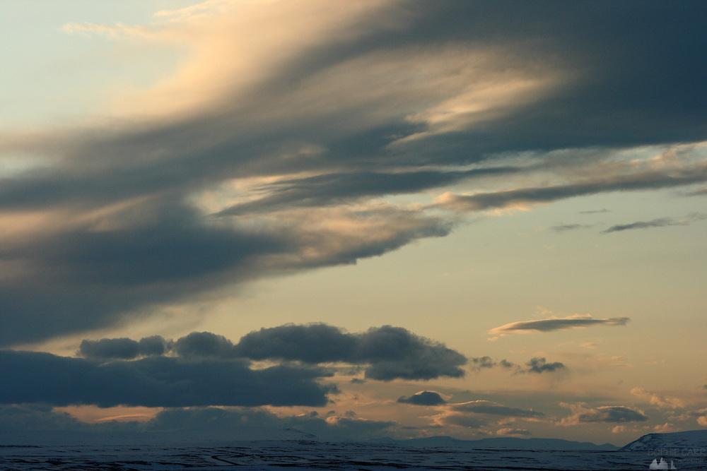 Dusk over Skutustadir Village on the south side of Lake Myvatn in northern Iceland
