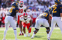 Sep 4, 2021; College Park, Maryland, USA; Maryland Terrapins linebacker Demeioun Robinson (4) prepares to rush the quarterback during the first quarter against the West Virginia Mountaineers at Capital One Field at Maryland Stadium. Mandatory Credit: Ben Queen-USA TODAY Sports