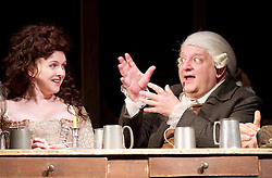 Mr Foote's Other Leg <br /> by Ian Kelly <br /> at Theatre Royal Haymarket, London, Great Britain <br /> press photocall<br /> 30th October 2015 <br /> <br /> <br /> <br /> Simon Russell Beale as Samuel Foote <br /> <br /> Dervla Kirwan as Peg Woffington <br /> <br /> <br /> Photograph by Elliott Franks <br /> Image licensed to Elliott Franks Photography Services