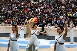 ATHENS, Oct 31, 2017  Greek actresses playing the role of ancient Greek priestesses and dancers perform during the handover ceremony of the Olympic Flame at Panathenaic stadium in Athens on Oct. 31, 2017, The Flame burning for the 2018 PyeongChang Winter Olympics was handed over on Oct. 31 to the South Korean organizers in a touching ceremony. (Credit Image: © Marios Lolos/Xinhua via ZUMA Wire)