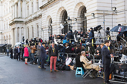 The media wait for Prime Minister Theresa May  at number 10 Downing Street, London. Picture date: Friday June 9th, 2017. Photo credit should read: Matt Crossick/ EMPICS Entertainment.
