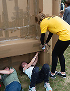 20/07/2018 repro free:  The People Build at Galway International Arts Festival will see hundreds of volunteers, and the general public, create two large-scale and highly ambitious structures solely from cardboard. Under the guidance of artist Olivier Grossetete and his team, the public will transform thousands of cardboard boxes into a structure to replicate St. Nicholas' Church in Galway. It is being constructed on Eyre Square in Galway today. On Sunday July 22 at 6pm the public will join forces in a massive celebratory demolition, which will see the cardboard building come tumbling down. <br /> <br /> A second structure will consist of a cardboard bridge being built at Waterside in Galway. It will be floated on the water, serving as a testimony to Galway's River Corrib Viaduct, once part of the famous Galway to Clifden Railway. The build will take place on Saturday July 21 and will be demolished on Sunday July 22 at 3pm. <br />  . Photo:Andrew Downes, XPOSURE