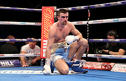 Jake Ball on the floor during the vacant WBA continental light-heavyweight championship contest at The O2 Arena, London.