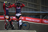 #32 (CRAIN Brooke) USA and  #23 (STANCIL Felicia) USA at the 2014 UCI BMX Supercross World Cup in Manchester.