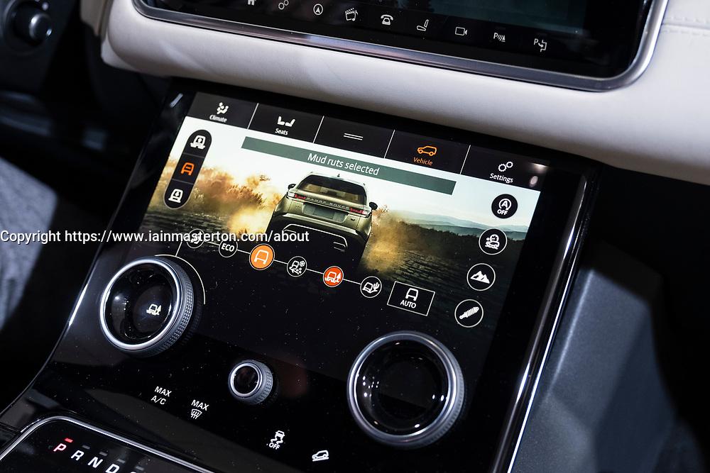 Detail of digital dashboard display inside new Land Rover Velar at 87th Geneva International Motor Show in Geneva Switzerland 2017