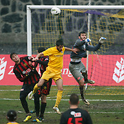 Eskisehirspor's goalkeeper Kayacan Erdogan (R) during their Turkey Cup matchday 3 soccer match Eyupspor between Eskisehirspor at Eyup Stadium in Istanbul Turkey on Wednesday, 11 January 2012. Photo by TURKPIX